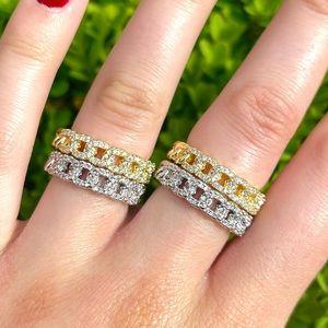 Silver & Gold Cuban Link Diamond CZ Ring